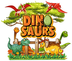 Keuken foto achterwand Kids Font design for word dinosaurs with many dinosaurs in the park