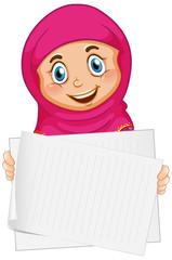 Keuken foto achterwand Kids Blank sign template with muslim girl on white background