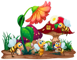 Keuken foto achterwand Kids Bee musical band playing in front of fairy mushroom house