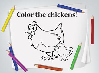 Keuken foto achterwand Kids Children chickens coloring worksheet