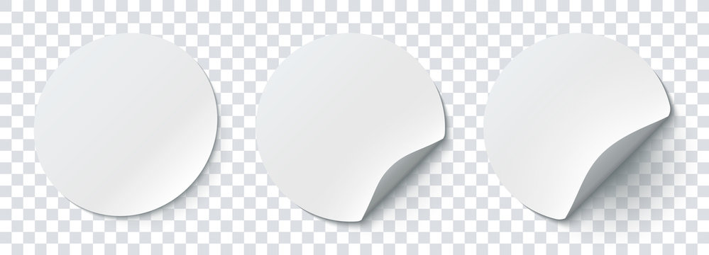 Mockup realistic paper round stickers white colors with curved corner and shadow. White round sticker on a transparent background. Vector illustration EPS10