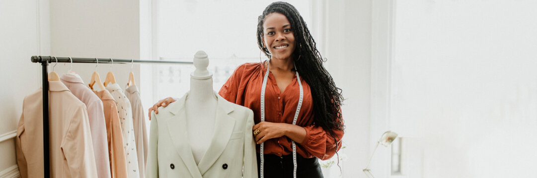 Black fashion stylist with a pinnable mannequin