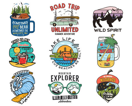 Vintage travel logos, vacation patches set. Hand drawn camping labels designs. Mountain expedition, road trip, surfing. Outdoor hiking emblems. Logotypes collection. Stock isolated on white.