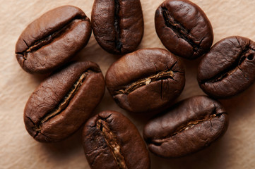 Close up of roasted coffee