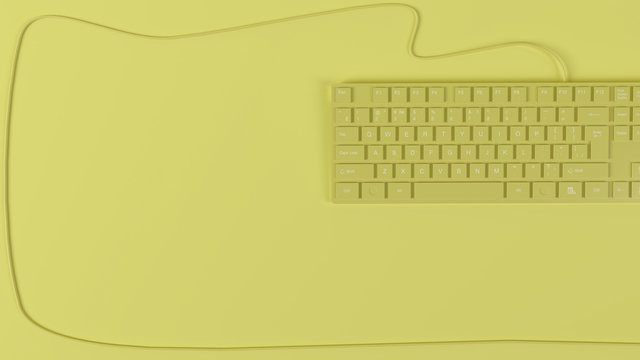 Yellow mockup with a keyboard and a wire