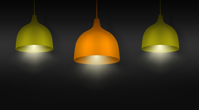 Hanging pendant lamps with the light on. Chandeliers with color lampshades. Realistic vector illustration