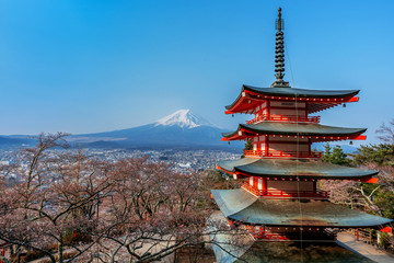 Wall Mural - Chureito pagoda and Fuji mountain in Japan.