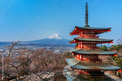 Wall mural Chureito pagoda and Fuji mountain in Japan.