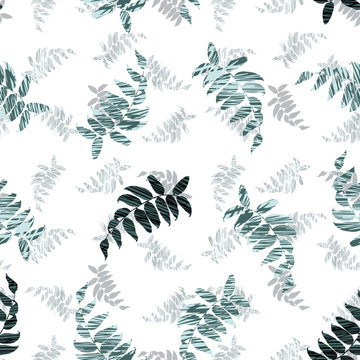 Vector white green mint leaves with zig zag texture print seamless pattern. Suitable for fabric, wallpaper and gift wrap.