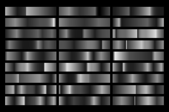 Black gradient collection. Shade of dark and gray metallic gradient pattern for background, cover, banner design. Vector illustration.