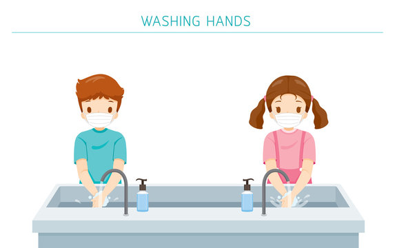 Children Wearing Surgical Mask, Washing Hands At School For Protection From Covid-19, Coronavirus Disease, Social Distancing Concept, Educational, Instruction, Sanitary, Healthcare, Safety