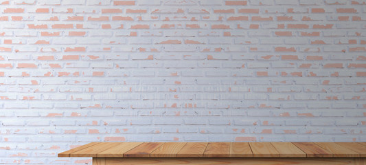 Wooden tabletop on  retro white brick wall background for montage product display or design key...