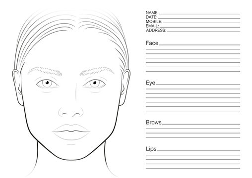 Face chart makeup artist blank. The contour of the face. Makeup template. Round face.