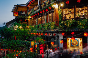 November 7, 2018: The view of the famous old teahouse decorated with Chinese lanterns, Jiufen Old Street, Taiwan on November 07 2018.