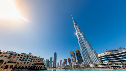 Dubai, UAE - January 25, 2020: Panoramic view of the Burj Khalifa and the Dubai Mall area on January 25, 2020 in Dubai, UAE