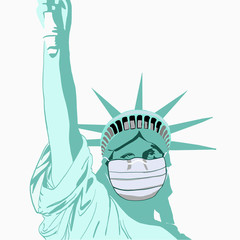 Spoed Fotobehang Historisch mon. Illustration of Statue of Liberty wearing medical face mask
