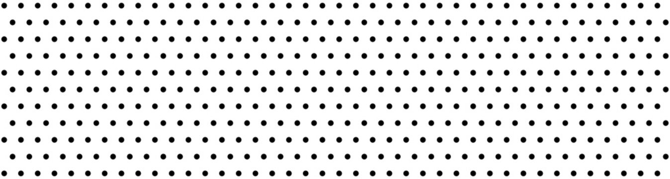 Dots pattern vector. Polka dot background. Monochrome polka dots abstract background. Dot pattern print. Panorama view. Vector illustration