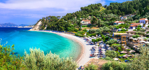 Best beaches of Greece with Blue flag - Tsamadou with turquoise sea. Samos island