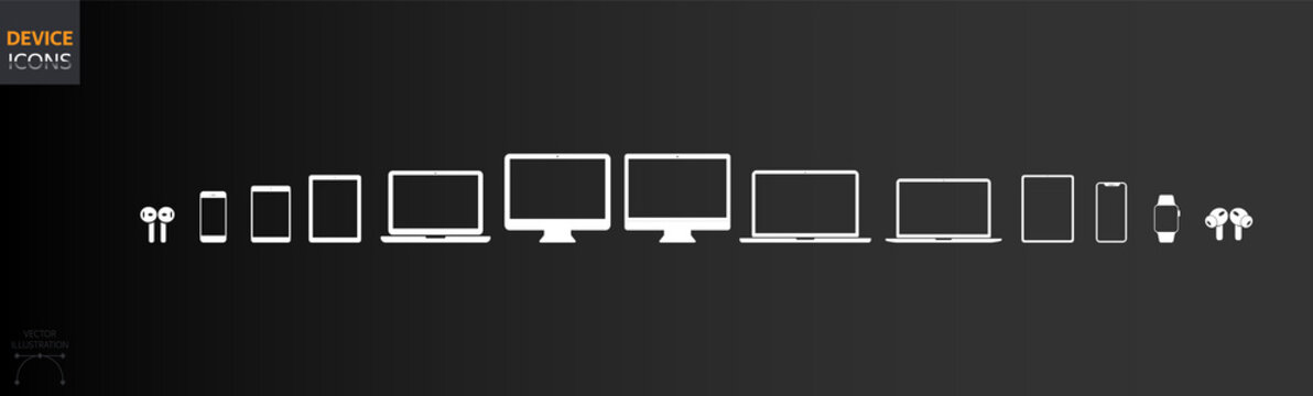 Set of Transparent Device Icons: Desktop computer, Laptop, Tablet, Phone, Watch and Headphones. Old and New Models. Classic Vector Style 2020 for Web and App Compatible EPS 10