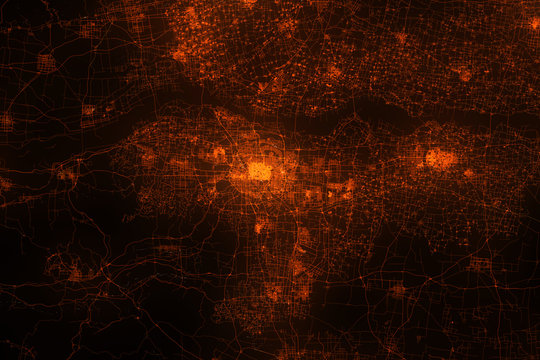Zhengzhou aerial view. Night city with street lights, view from space. Urbanization concept, render