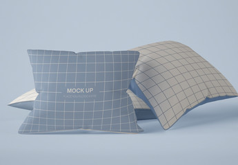 3 Square Pillows Mockup
