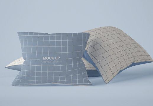 3 Square Pillows Mockup