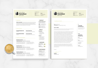 Beige and White Resume and Cover Letter Layout