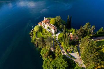 Villa del Balbianello (1787), Lenno, Lake Como, Italy, Panoramic Aerial View