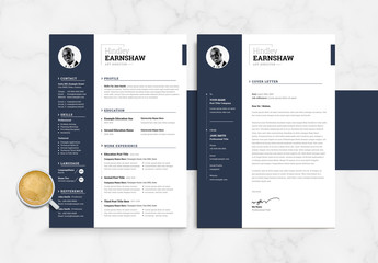 Resume and Coverletter Layout with Dark Blue Sidebar