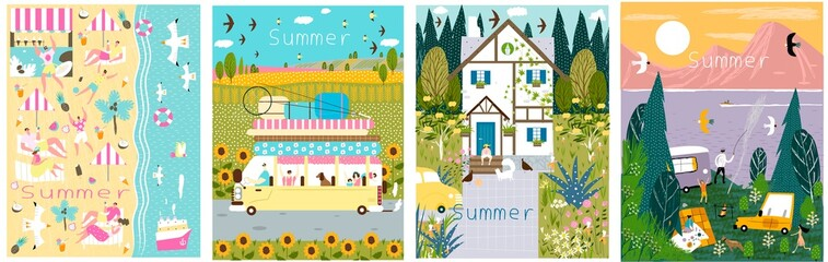 Set of summer illustrations. Vector illustrations with nature, beach, forest, house, lake, sea for printing, books, cards, beauty, banner, poster, stickers, business. Wall mural