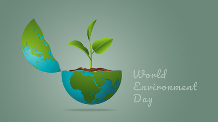 World Environment day concept. Earth Day. Generated image trees growing seedlings in the earth on green background. Vector illustration.