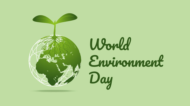 World Environment day concept. Earth Day. Generated image trees growing seedlings for earth on green background. Vector illustration.