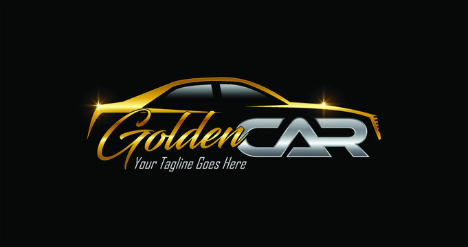 Golden Car Logo Sign in gold and silver color with black background