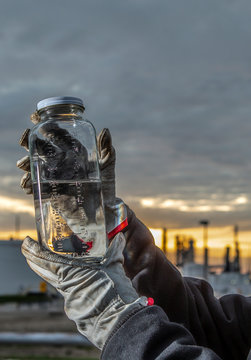 Close up of hands holding chemical sample at refinery