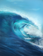 Photo sur Plexiglas Abstract wave Digital painted illustration with waves. Digital painting style. Painting with ocean. Huge wave and sky with clouds.