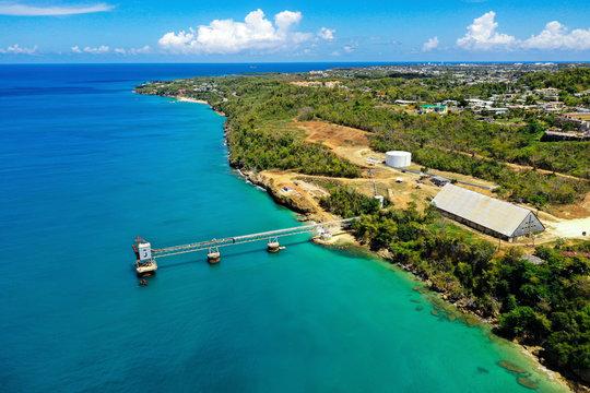 Aerial view of old sugar export dock in Aguadilla, Puerto Rico.