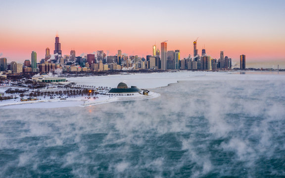 Aerial view of Lake Michigan near Chicago frozen during the winter, United States.