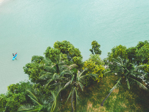 Aerial view of palm trees, stand up paddle board, ocean and green trees from Tanjong Beach club on Sentosa Island, Islands of Singapore, Singapore.
