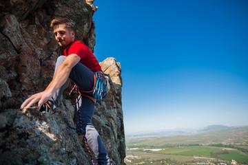 A rock climber on a rock