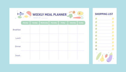 Weekly meal planner and shopping list for organize. Healthy meal plan for diet and food. Vector Printable Template.