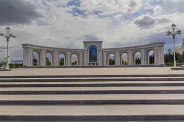 Monument at Altyn Asyr Park in Ashgabat, capital of Turkmenistan