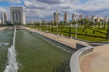 Fountains at Altyn Asyr Park in Ashgabat, capital of Turkmenistan