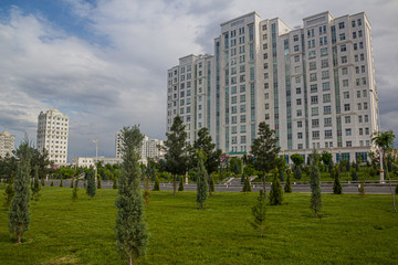 Marble-clad buildings in Ashgabat, capital of Turkmenistan