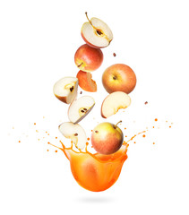 Fototapete - Whole and sliced apples are falling in splashes of juice on a white background