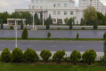 Empty road in Ashgabat, capital of Turkmenistan