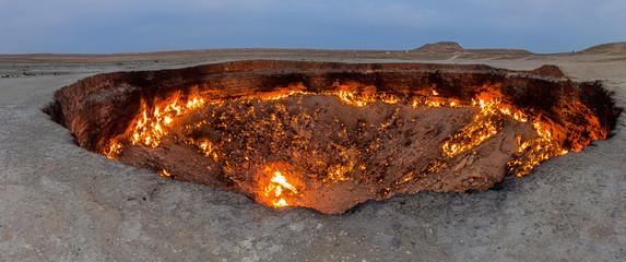 Darvaza (Derweze) gas crater (called also The Door to Hell) in Turkmenistan