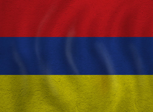 The flag of Armenia background. Travel and learn armenian language concept
