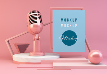 Pink Abstract Composition Mockup with Microphone
