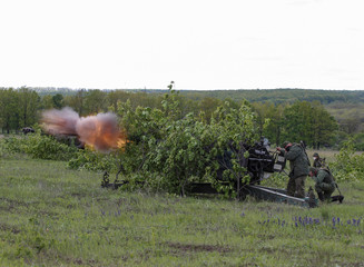 Servicemen of the self-proclaimed Donetsk People's Republic (DNR) fire howitzers during military exercises at a target range outside the town of Horlivka (Gorlivka)
