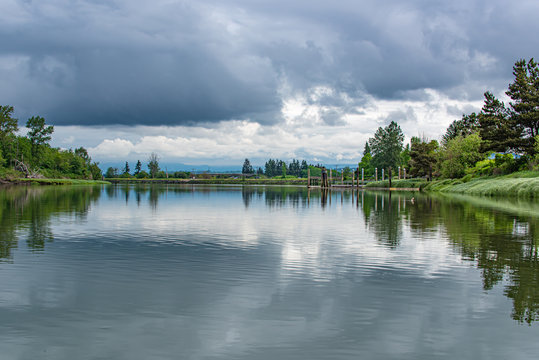 Landscape of a Stormy Morning on the Snohomish River in Springtime near Langus Riverfront Park, Everett Washington